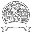 Funny translator or interpreter emblem vector image