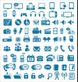 media and communication icons blue edition vector image