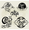 set of potato chips labels design elements vector image