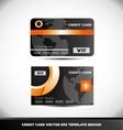 Orange circle black vip credit card template vector image