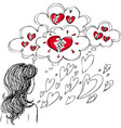 girl with broken heart vector image
