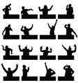man in various poses on black silhouette vector image