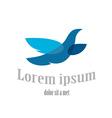 Flying bird logo template Blue dove symbol vector image