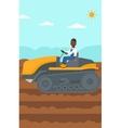 Farmer driving catepillar tractor vector image