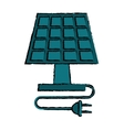 drawing solar panel plug energy ecological clean vector image
