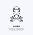 handyman services logo repairman flat line icon vector image