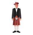 scotsman in red kilt skirt and black jacket vector image
