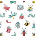 seamless pattern with funny bug background with vector image
