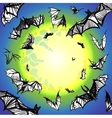 grunge bats flying in night vector image vector image