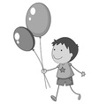Boy holding balloons in hand vector image vector image