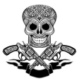 Crossed Guns With Ornaments Ribbon And Skull vector image