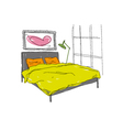 Bedroom interior sketch vector image