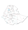 Ethiopia Black White Map vector image