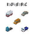 isometric transport set of autobus lorry auto vector image