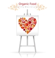 Vegetarian heart on canvas and easel red and vector image