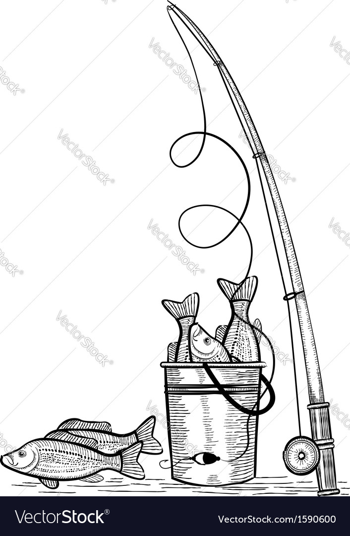 Fishing rod and fishes black drawing vector