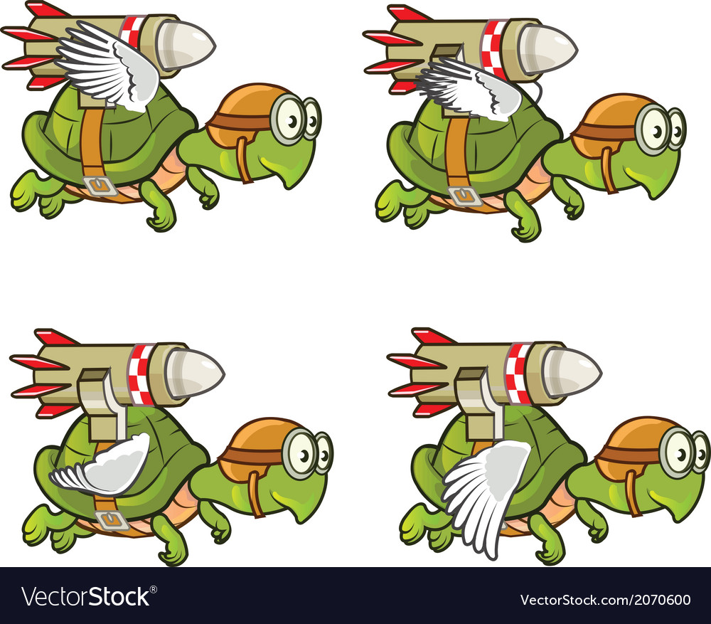 Flying turtle with rocket vector