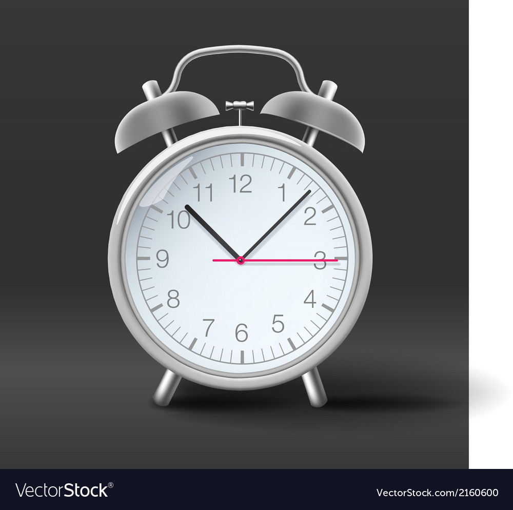 Vintage alarm clock on grey background vector