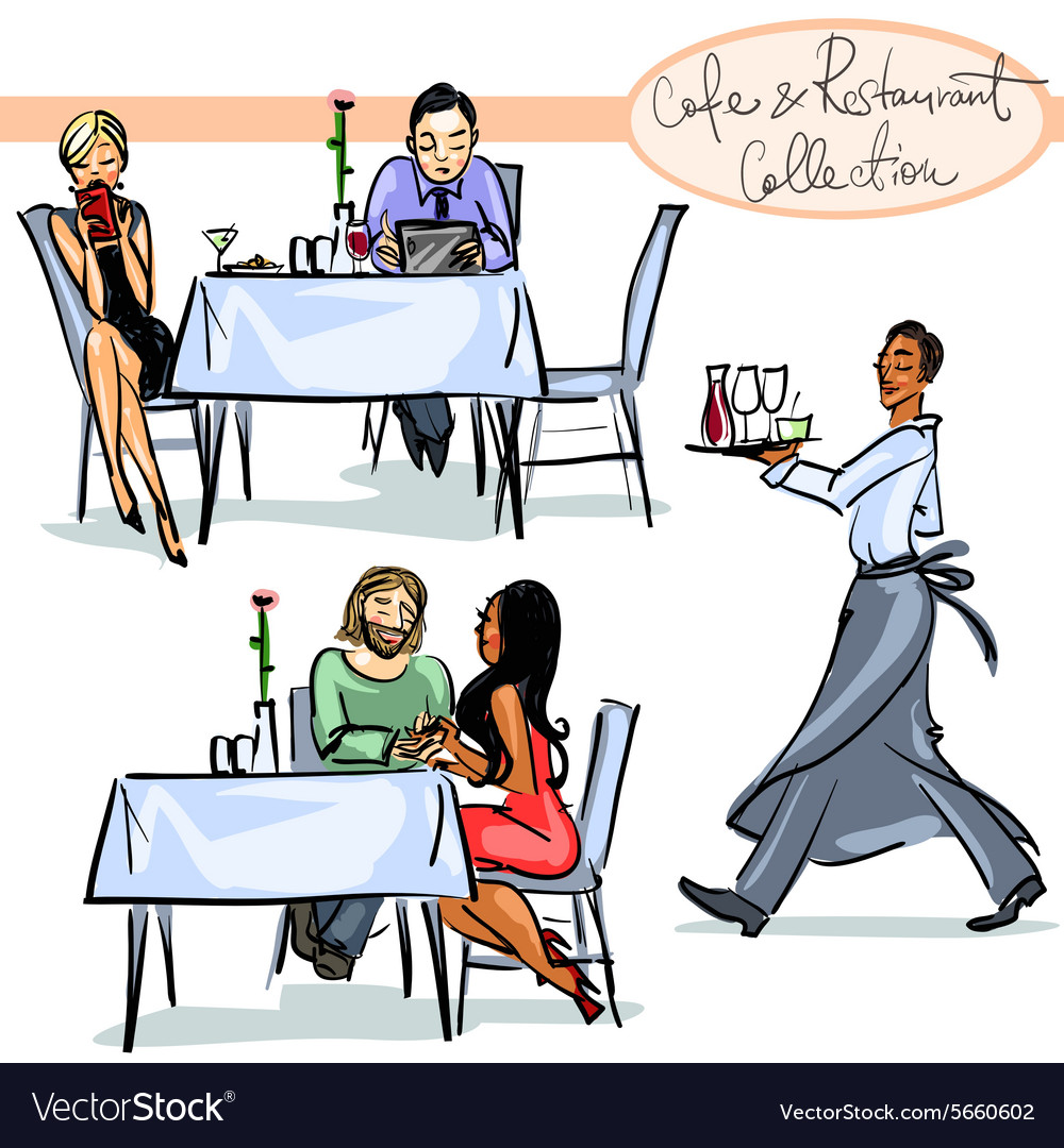 Cafe and restaurant collection  hand drawn scenes vector