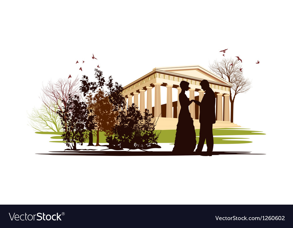 Couple in love in the park of greece vector