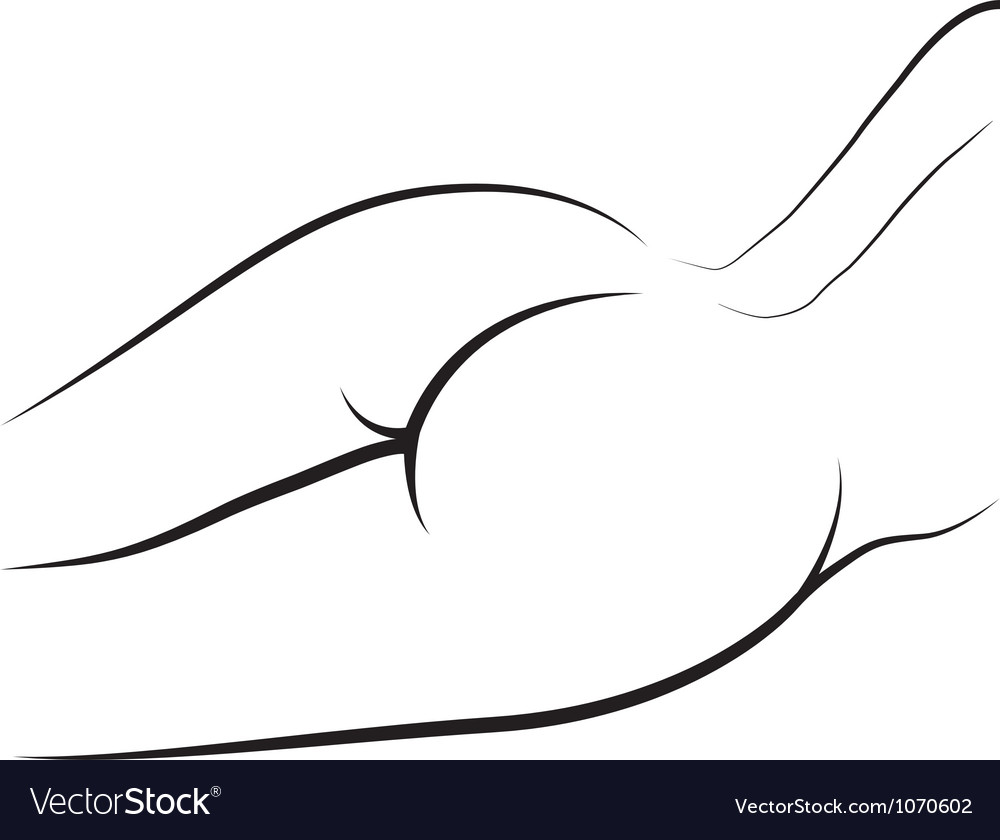 Female naked bum outline vector
