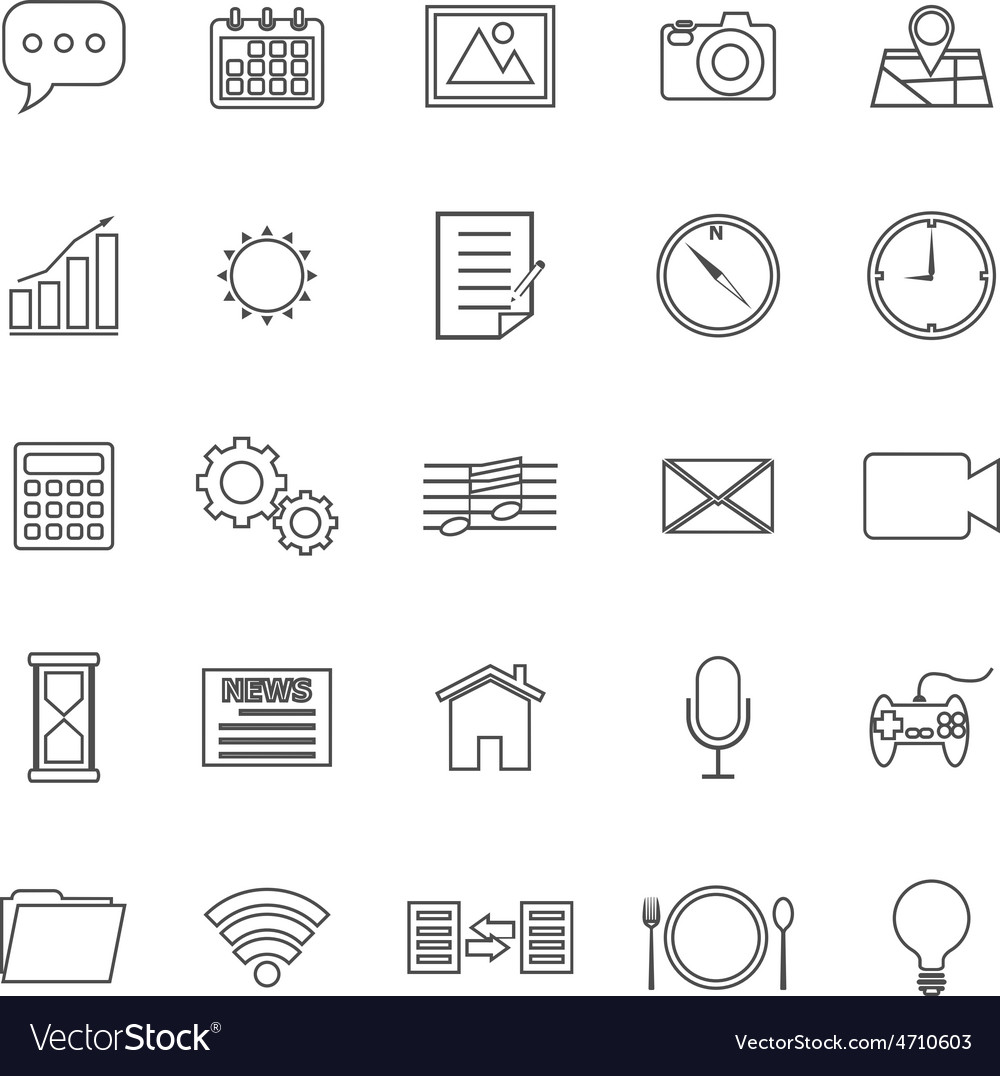 Application line icons on white background vector