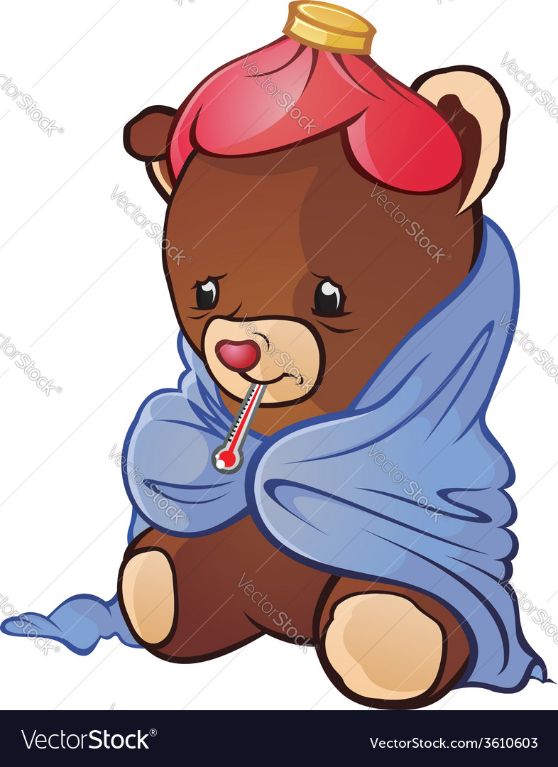 Sick teddy bear cartoon character vector