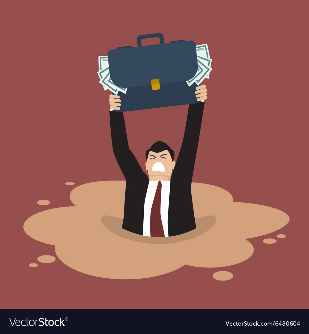 Businessman with briefcase full of money sinking vector