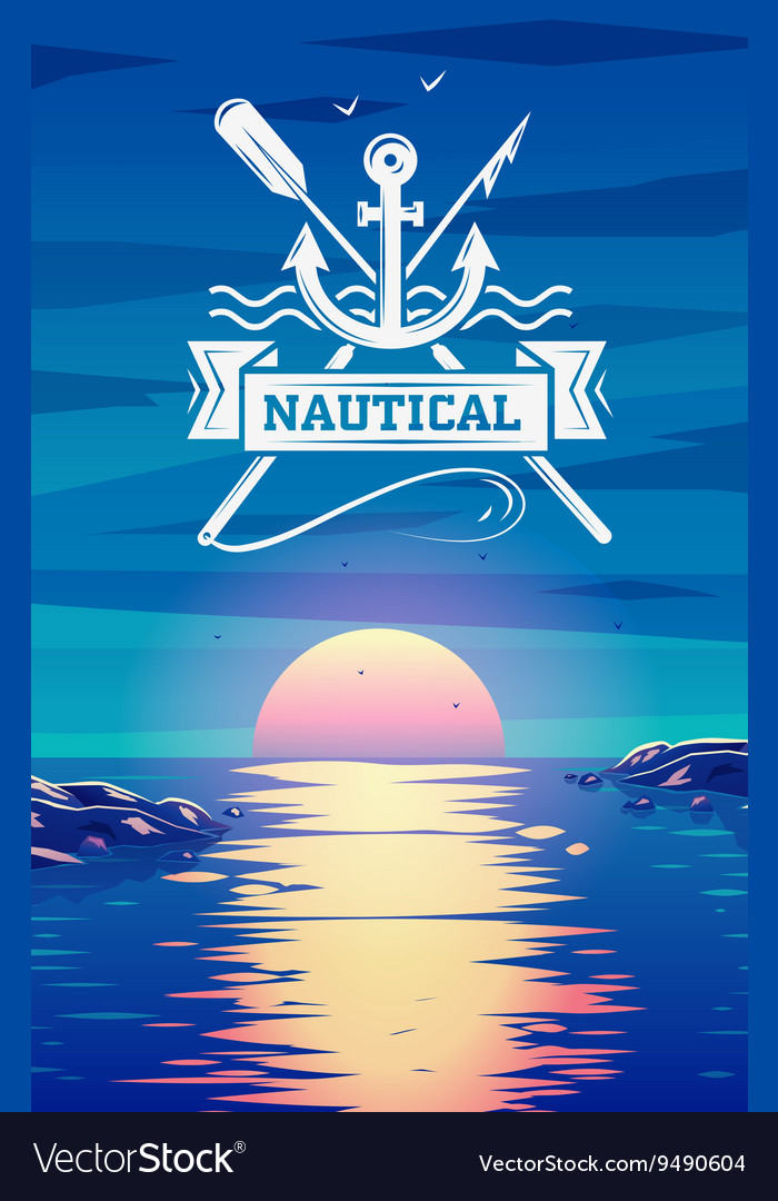 Nautical logo and sunset background concept vector