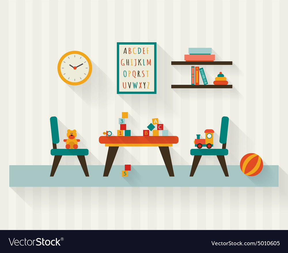 Playroom kids in nursery vector