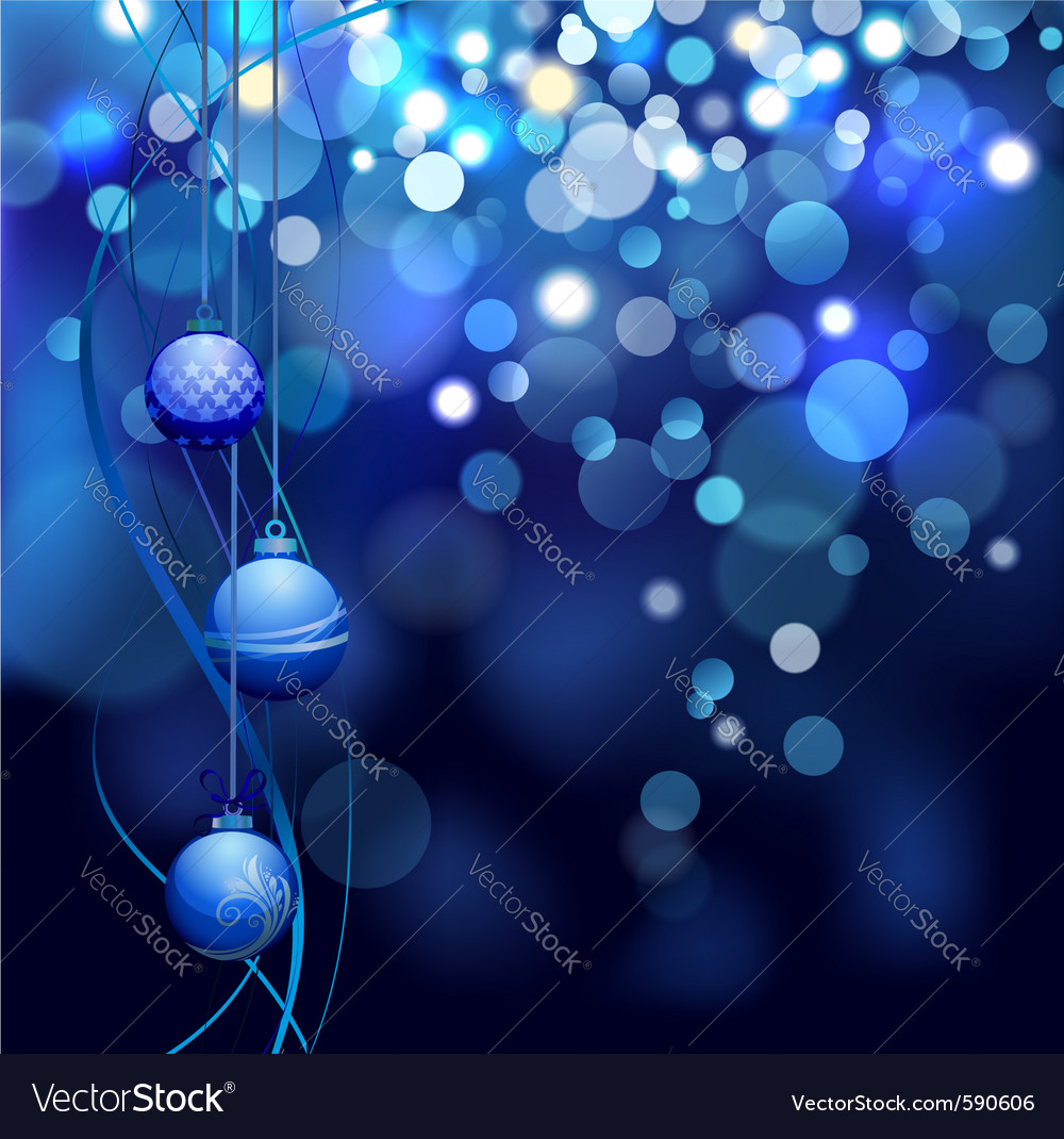 Christmas defocus lights background with balls vector