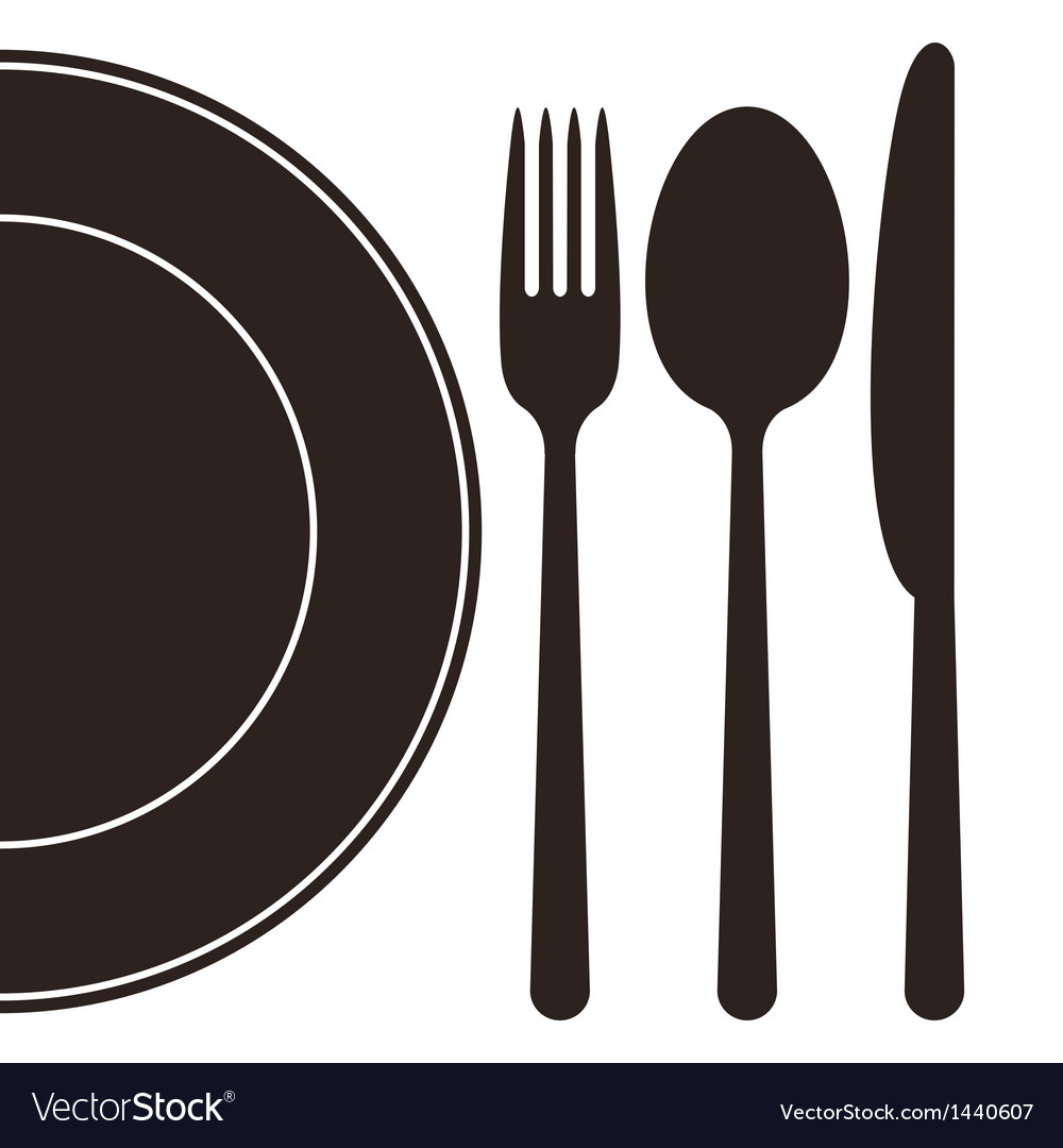 Plate fork spoon and knife vector