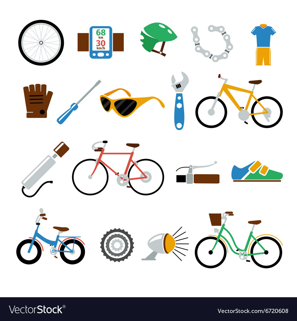 Bicycle bike flat icons set vector