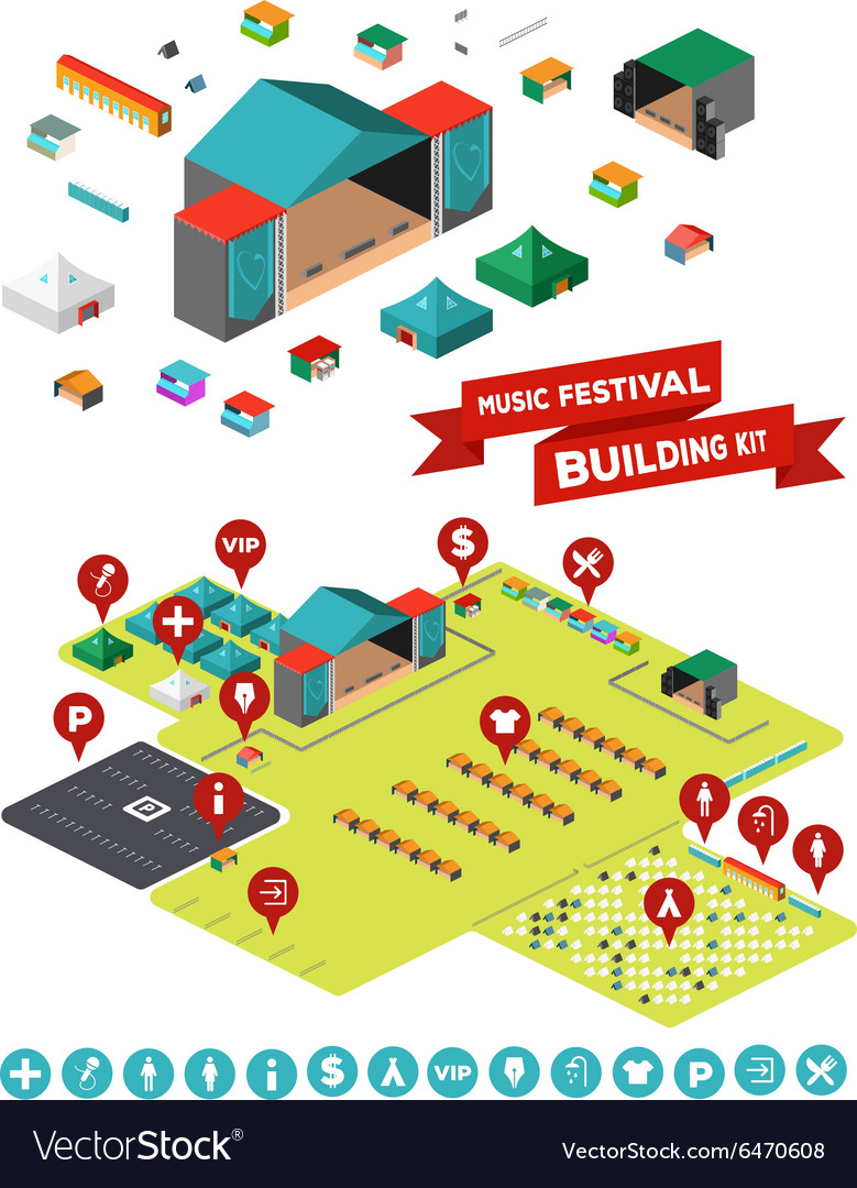 Music festival building kit vector