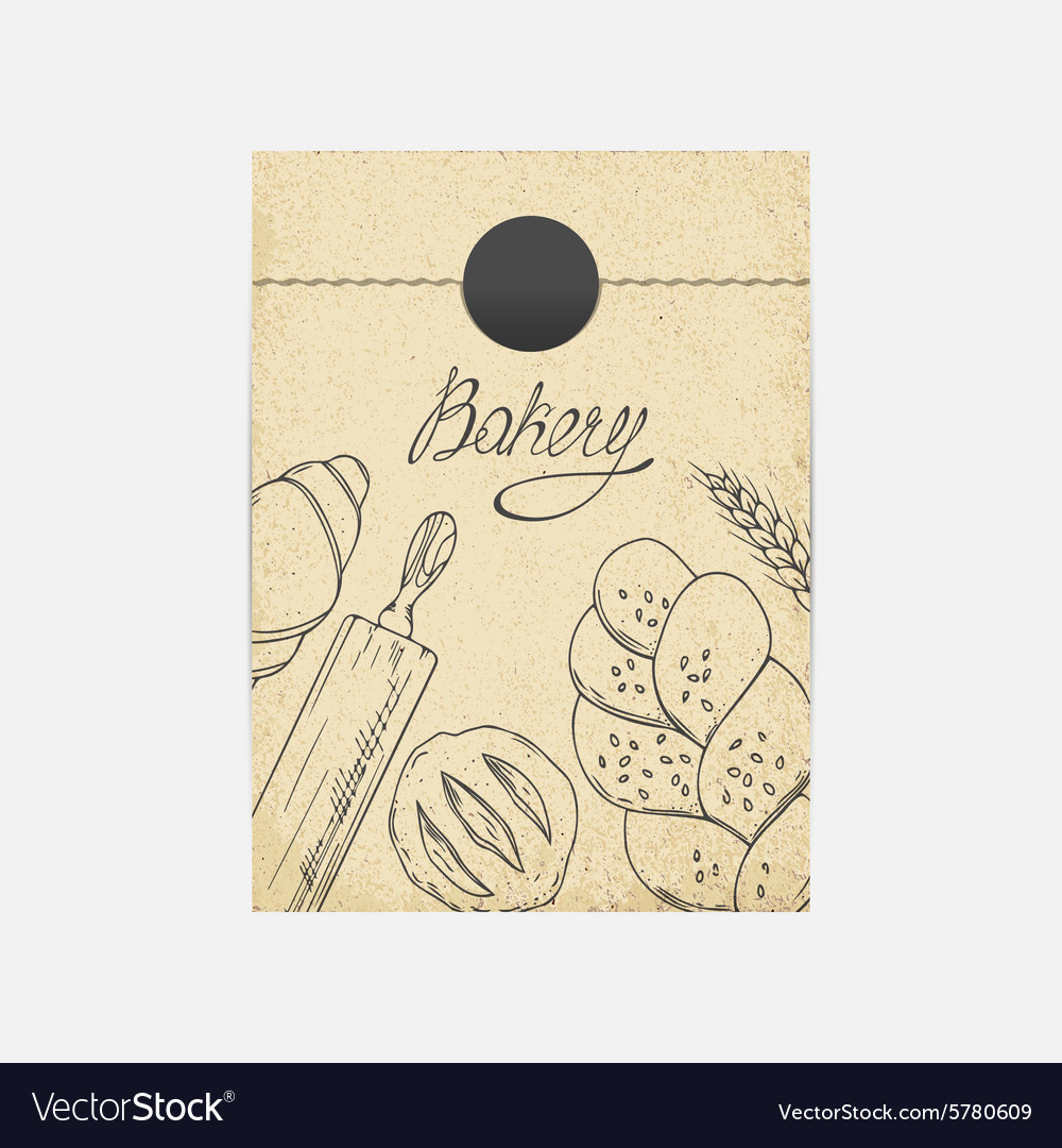 Kraft paper takeaway bag with sketched baking vector