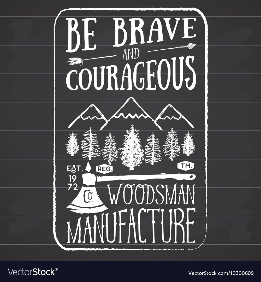 Lumberjack vintage label with two axes and trees vector