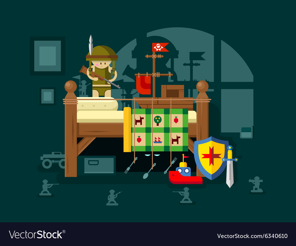 Child playing in the room vector