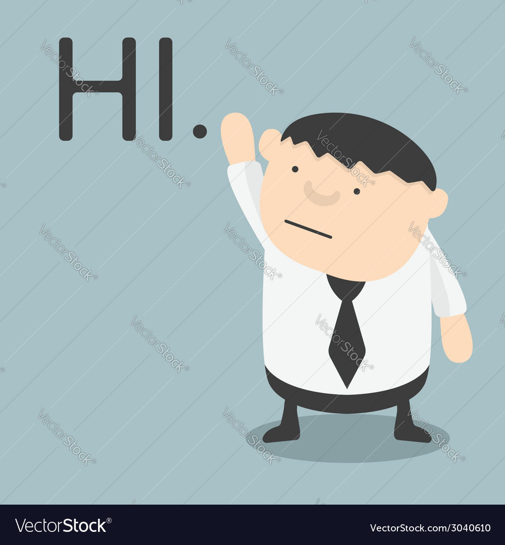 Fat businessman hi vector