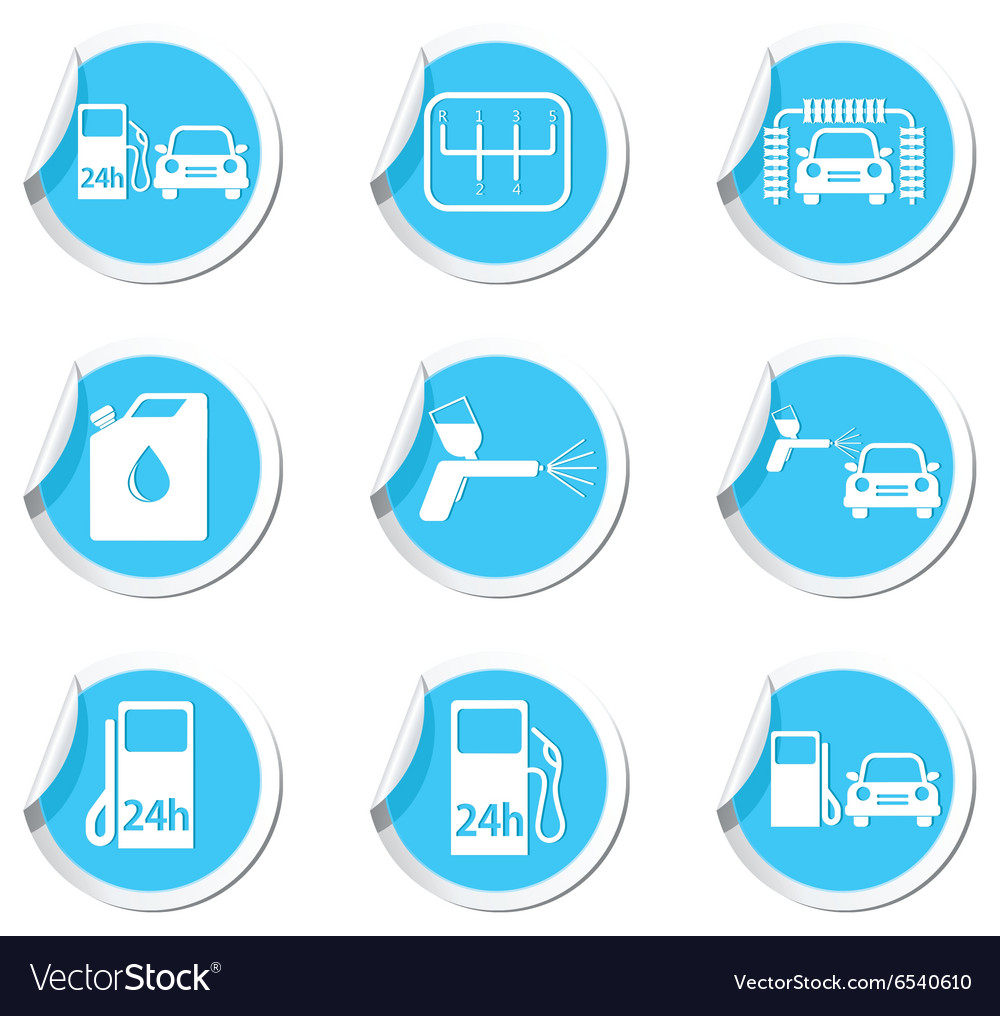 Set of 9 car service blue label vector
