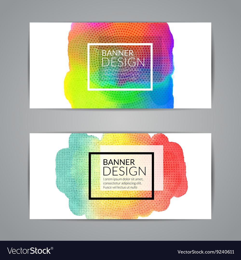 Colorful watercolor banners design elements vector