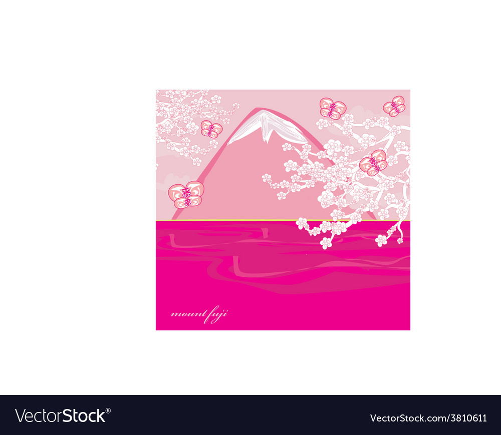 Japanese cherry tree to the background of the vector
