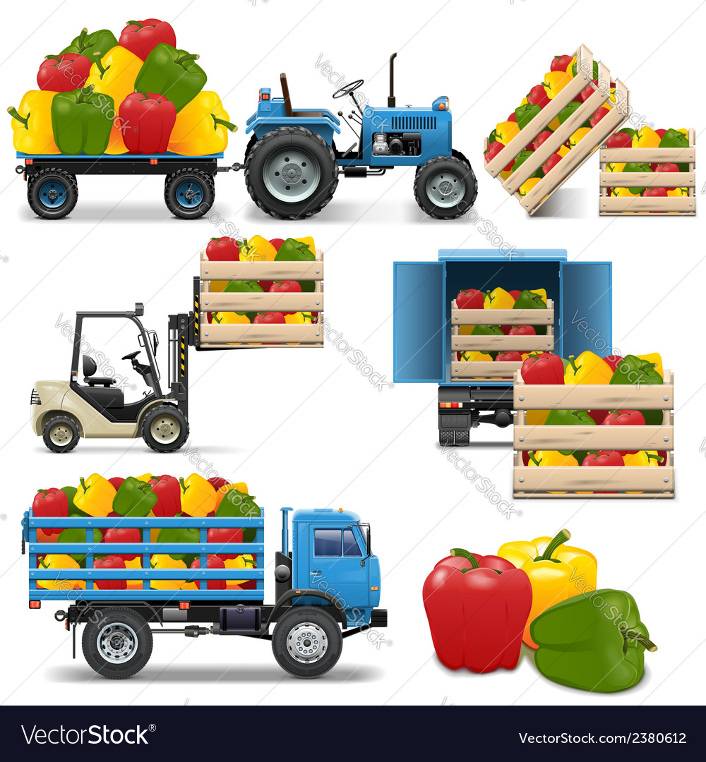 Agricultural icons set 4 vector