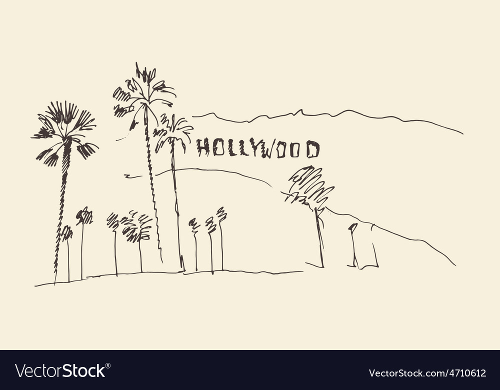 Hills and trees engraving vector