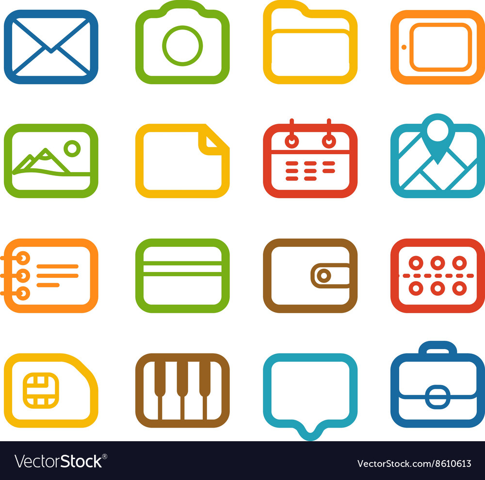 Different web color icons set vector