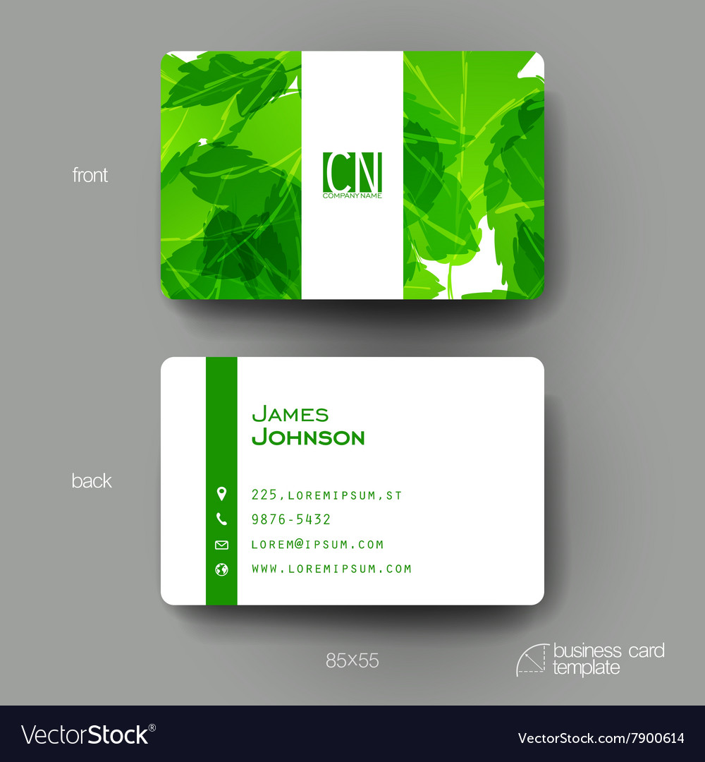 Business card template with autumn leaf vector
