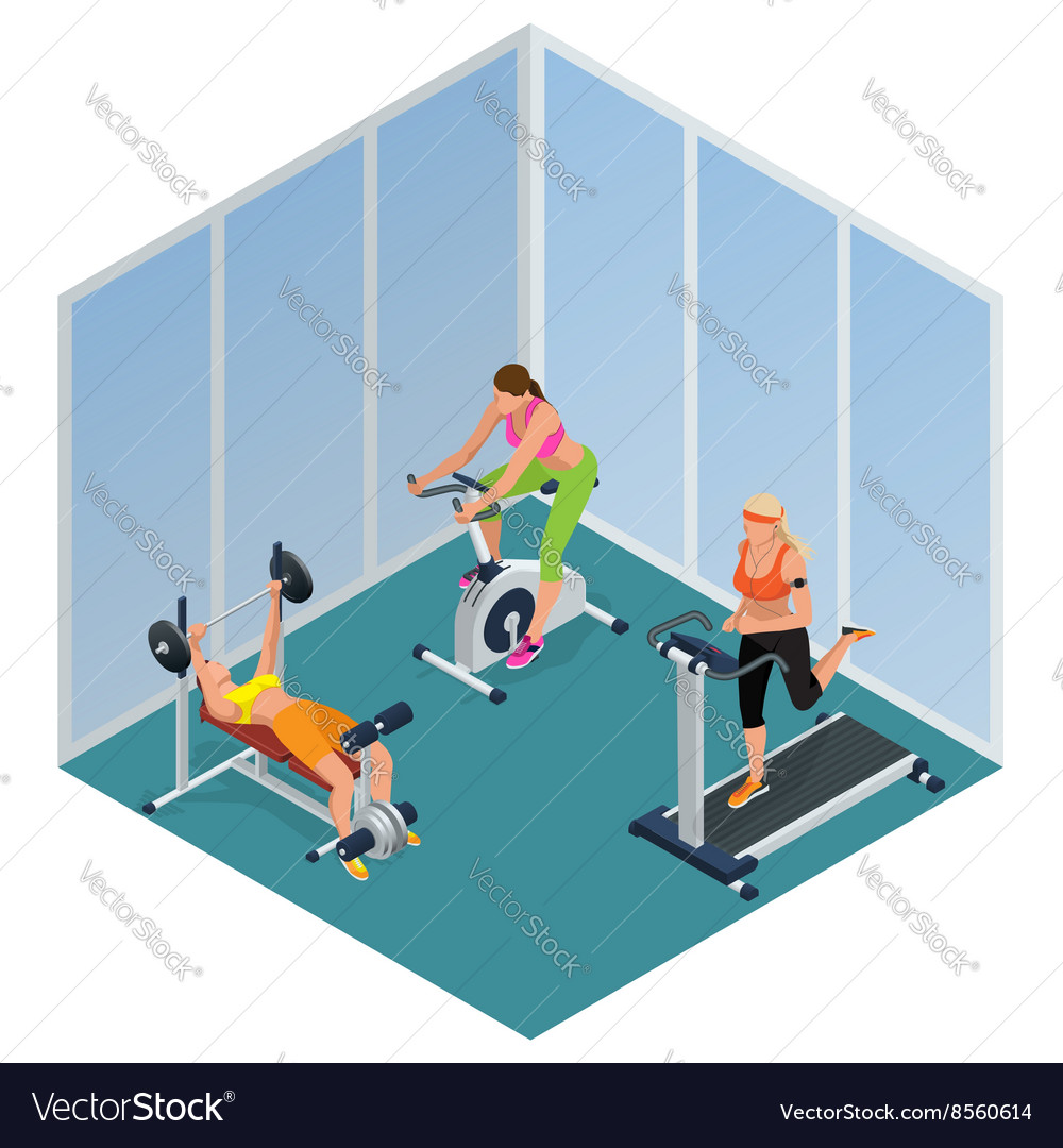 Fitness woman working out on exercise bike young vector