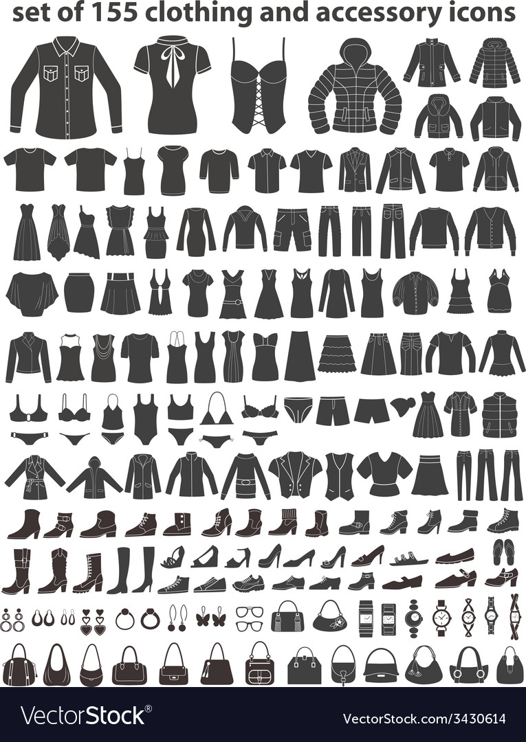 Set of 155 icons clothing shoes and accessories vector