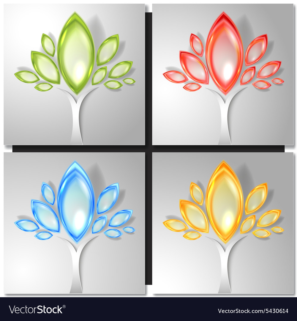 Set of four colorful trees vector