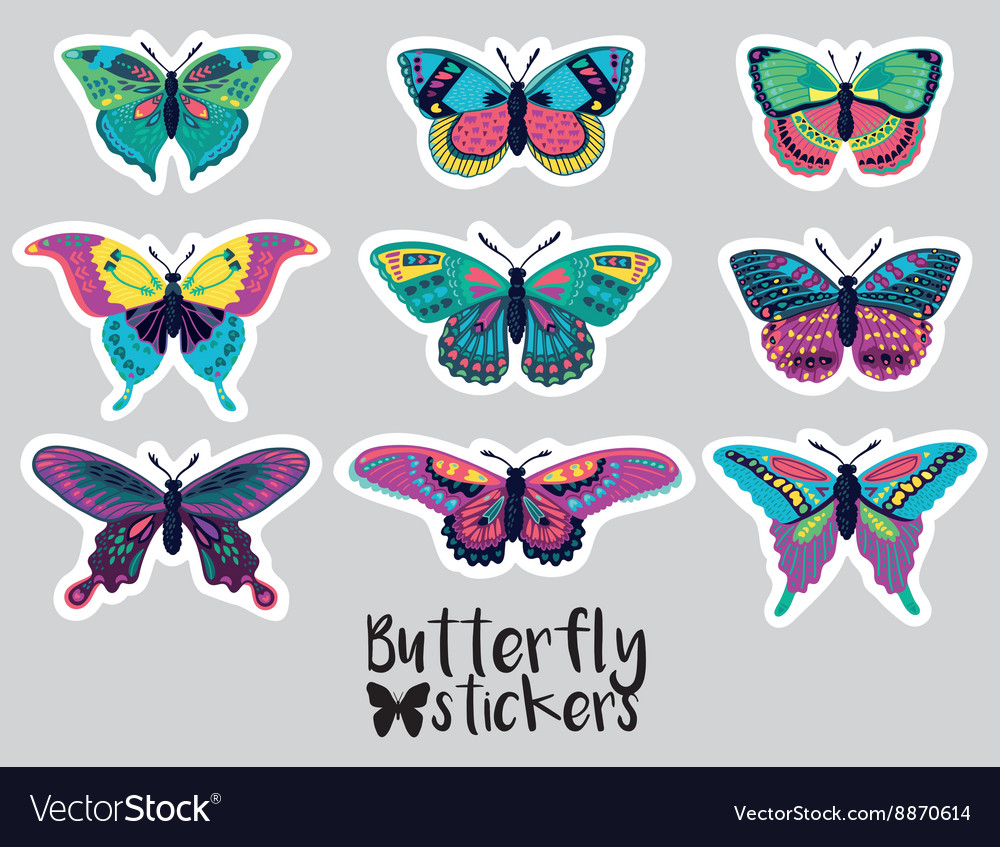 Sticker set of butterflies decorative silhouettes vector