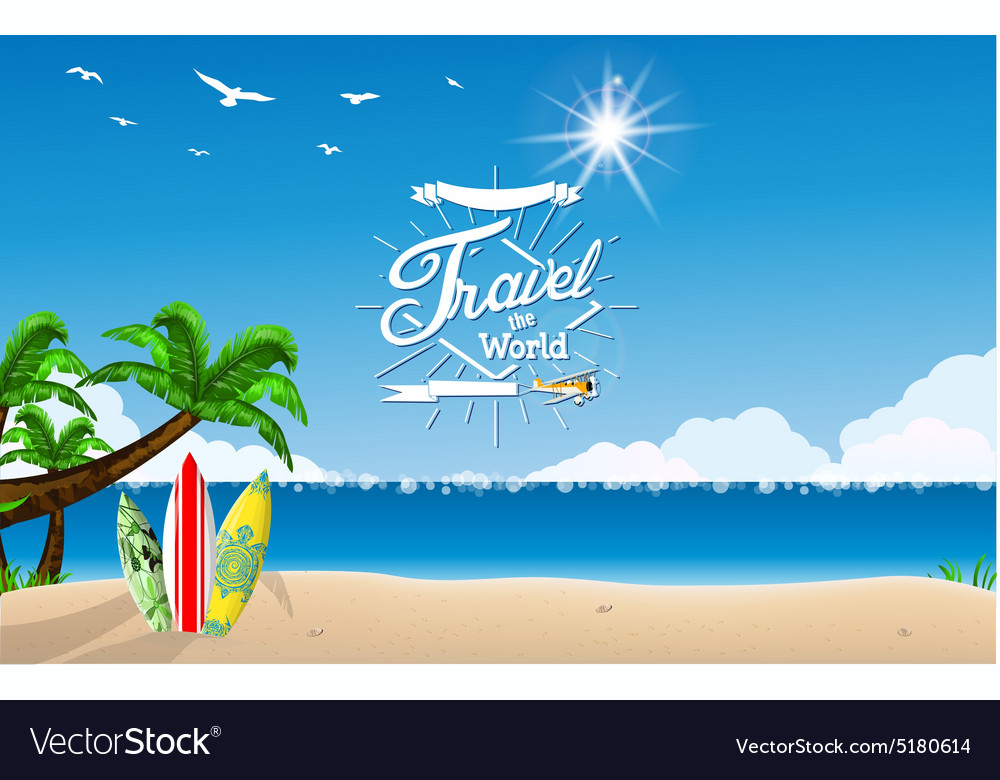 Surf boards on sea beach vector